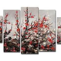 アートパネル 『紅梅Ⅳ』 30x80cm他、計5枚組 梅 梅の木