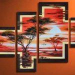 アートパネル 『松と夕暮』 30x40cm他、4枚組