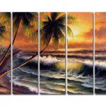 アートパネル 『椰子と荒海』 25x80cm x 5枚組 海 ハワイ 南国