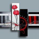 アートパネル 『流線と赤い花』 40x60cm他、計4枚組