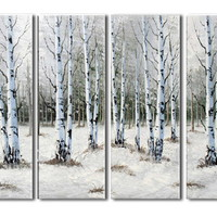 アートパネル 『森の冬』 30x90cm x 4枚 樺の木