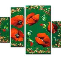 ートパネル 『赤い花Ⅵ』 40x80cm他、計4枚組