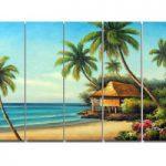 アートパネル 『ハワイの海と椰子』 25x80cm x 5枚組 南国