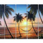 アートパネル 『椰子のあるサンセットビーチ』 25x80cm x 5枚組 海 ハワイ 南国