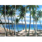 アートパネル 『椰子の木と海』 25x80cm x 5枚組 海 ハワイ 南国
