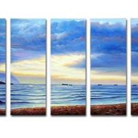 アートパネル 『雲のある海辺』 30x80cm x 5枚組