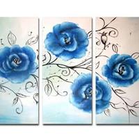 アートパネル 『青い花びらⅥ』 30x60cm x 3枚組