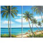 アートパネル 『トロピカル・ビーチ』 25x80cm x 4枚組 海 椰子の木 南国 ハワイ