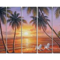 アートパネル 『サンセット・ビーチⅢ』 25x80cm x 5枚組 海 南国 椰子の木