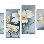 アートパネル 『白い花Ⅴ』 35x70cm他、計4枚組