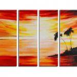 アートパネル 『海辺の夕焼け』 25x70cm x 4枚組