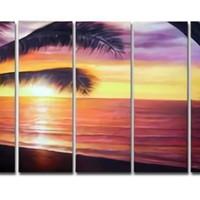 アートパネル 『椰子のある海』 25x80cm x 5枚組 ヤシ