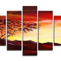 アートパネル 『山と赤焼け』 25x90cm他、計5枚組
