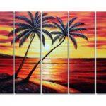 アートパネル 『サンセット・ビーチ』 25x80cm x 5枚組 南国 海 椰子の木