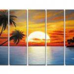 アートパネル 『サンセットⅡ』 25x80cm x 5枚組 海 椰子の木 南国