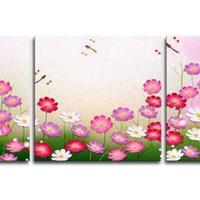 アートパネル 『ピンク・フラワー』 40x40cm x 3枚組