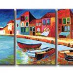 アートパネル 『港町とヨット』 40x50cm x 3枚組
