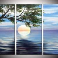 アートパネル 『朝日』 30x60cm x 3枚組 海 太陽