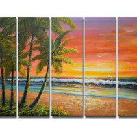 アートパネル 『サンセット・ビーチⅡ』 25x80cm x 5枚組 海 南国 椰子の木