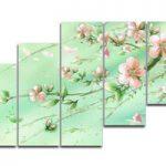 アートパネル 『ピンクの花びらⅤ』 20x60cm 他、計5枚組