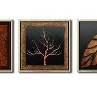 アートパネル 『木と葉』 40x40cm、3枚組