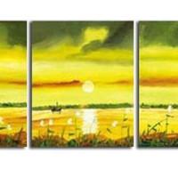 アートパネル 『湖水の夕暮れ』 50x50cm x 3枚組 夕焼け サンシャイン