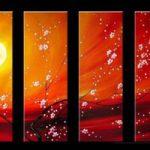 アートパネル 『桜月夜』 25x70cm x 4枚組