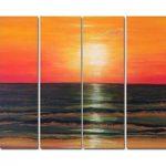 アートパネル 『サンセット』 25x80cm x 4枚組 海 夕焼け