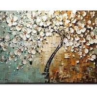 アートパネル 『抽象的な白い木と花Ⅱ(ビッグサイズ)』 75x150cm x 1枚 大型 お店のディスプレイ インテリア