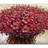 アートパネル 『フラワー・ブーケ(赤)(ビッグサイズ)』 75x150cm x 1枚 大型 お店のディスプレイ インテリア