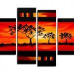 アートパネル 『森の夕焼けⅡ』 25x75cm他、計4枚組