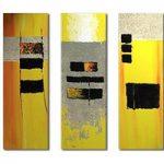 アートパネル 『黄色い抽象』 25x75cm x 3枚組