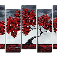 アートパネル 『赤い花の咲く木Ⅲ』 30x70cm x 5枚組