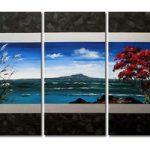アートパネル 『海と山の風景のある抽象』 30x60cm x 3枚組