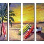 アートパネル 『椰子とサーフボードのある浜辺』 25x70cm x 4枚組