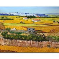 アートパネル ゴッホ『ラ・クローの収穫風景』 70x100cm x 1枚 模写(複製画)