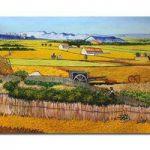 アートパネル ゴッホ『ラ・クローの収穫風景(ビッグサイズ)』 100x150cm x 1枚 模写 大型 お店のディスプレイ