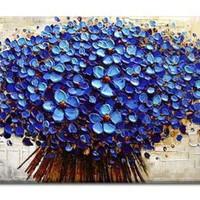 アートパネル 『フラワー・ブーケ(青)(ビッグサイズ)』 75x150cm x 1枚 大型 お店のディスプレイ インテリア