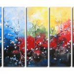 アートパネル 『梅の花びら』 30x80cm x 5枚組 梅の木