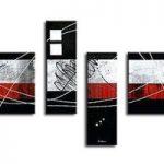 アートパネル 『白・赤・黒』 40x70cm他、計4枚組