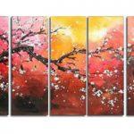 アートパネル 『白梅Ⅱ』 30x80cm、5枚組 梅の木