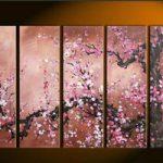アートパネル 『桜の木』 30x90cm x 5枚組 肉筆 桜 サクラ