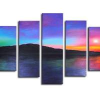 アートパネル 『海の夕暮れ』 25x85cm他、計7枚組